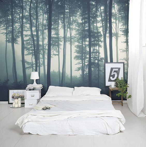 Fototapeta do sypialni las we mgle